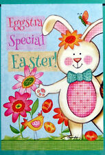 "small ""Eggsra Special Easter"" Bunny Rabbit Flowers Garden Flag (12.5"" x 18"")"