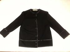 Vintage Women Gino Paoli Made in Italy 100% Black Wool Sweater Size 14 50s 60s 2