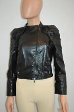 Miu Miu Black Leather Zip Jacket/Coat w/Ruffle Detail Size 42/US 6