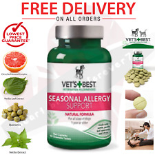 Vets Best Seasonal Allergy Supplement for Dog Rash Dry Itchy Skin Relief 60 Tabs