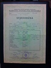 SCHOOL CERTIFICATE OF 1951- YUGOSLAVIA -CROATIA - DOCUMENT !!!