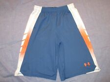 Boys UNDER ARMOUR Athletic/Basketball SHORTS - Youth Large - Blue w/ Orange/Gray