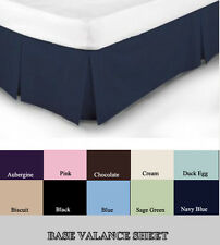 LUXURY PLAIN DYED PLEATED POLY COTTON PLATFORM BASE VALANCE SHEETS ALL SIZES