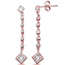 Rose Gold Plated Unique Drop Dangle Cubic Zirconia .925 Sterling Silver Earrings