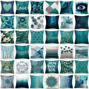 """18x18"""" Cushion COVER Teal Blue White Double Sided Decorative Throw Pillow Case"""