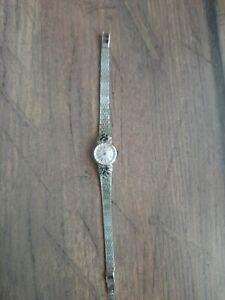 alte Damen Armbanduhr Silber 835 JUTA mit Steine