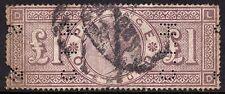 QV 1888 £ 1 Marrón-Lila SG186 3 zingy wmk Feria en buenas usado-perfin, algunos tonificación