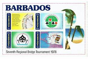 1978 Barbados Souvenir Sheet #475-78 #478a Seventh Regional Bridge Tournament