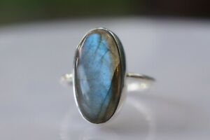 Sterling Silver Labradorite Ring 10x20mm Fine Solid 925 Ring Admirebhs