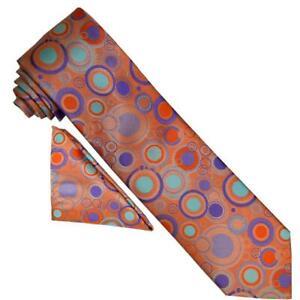 Barcelona 1216 Peach / Purple / Orange / Mint Polka Dot Necktie / Hanky Set