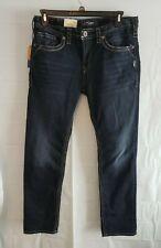 NWT Silver Jeans mens 34 X 32 Konrad slim fit stretch dark wash big stitch jeans