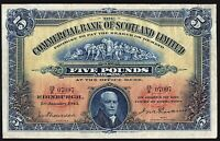 1943 COMMERCIAL BANK OF SCOTLAND LIMITED £5 BANKNOTE * 15/S 07097 * gF *