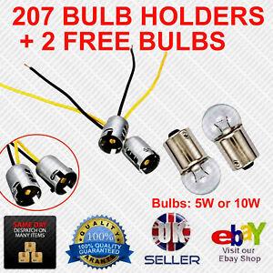 207 Straight Bayonet BA15s 12 Volt Car Bulb Holders + 2 Free Bulbs (5W or 10W)