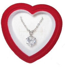 """Necklace Heart Cubic Zircona Pendent Boxed 18"""" chain White Goldplate 3 Karat TW"""