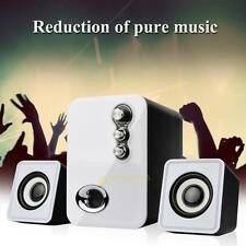 3D Sound 2.1 CH PC Computer USB Speaker w/ Dual Subwoofer Laptop Desktop White