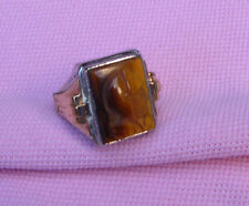 Vintage Antique Art Deco Sterling Silver Gold Tiger Eye Large Cameo Man Ring s 8