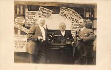 "RPPC ""Rocky Gulch Saloon"" Cowboy Bar Studio Photo c1910s Vintage Postcard"