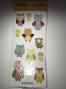 New Hallmark 4 Sheets Owl and Floral Stickers