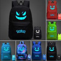 Girls Boys Pokemon Go Gengar Backpack Luminous Rucksack Canvas School Book Bags