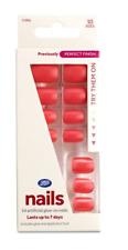 Boots False Nails Coral Orange/Red/Artificial/Glue/Nail/Care/Perfect/Finish/NEW
