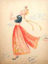 1960 Girl costume design watercolor painting signed
