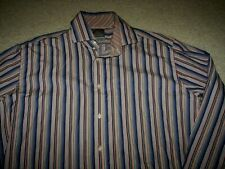 Thomas Dean Men's Lined Cuffs LS Dress Shirt Size Large