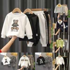 Kids Baby Boys children's Plaid Long Sleeve Sweater Tops+Trousers Pants 2pcs Set