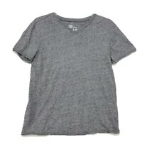 Helix V Neck Tee T Shirt Mens Sz L Large Heather Gray Rolled Hems Short Sleeve