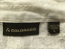 Colorado long sleeved travel button down womens white shirt Large 3/4 sleeve