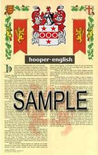 HOOPER Armorial Name History - Coat of Arms - Family Crest GIFT! 11x17