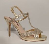 "NEW!! Nina Gold Rhinestone Sandals 4"" Heels Leather Sole Size 8.5M US 38.5M EUR"