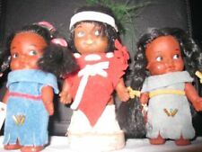 """3 x Canadian Native FIRST NATION Dolls Girls 3"""" Boy 4"""" HAND CRAFTED in CANADA"""