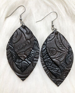Brown / Black Embossed Tooled Look  Faux Leather Earrings Triple Layer