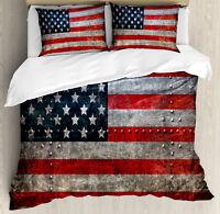 American Flag Duvet Cover Set with Pillow Shams US Flag Plate Print