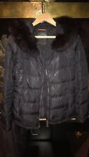 Ladies Black Puffer Prada Coat Jacket With Fur Hood Tg46