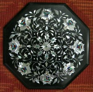 15 x 15 Inches Marble End Table Top black Patio Coffee Table Pietra Dura Art