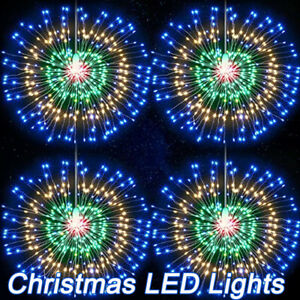 Christmas LED Firework Outdoor Fairy String Lights Starburst Hanging Decorations