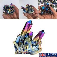Natural Quartz Crystal Rainbow Titanium Cluster Mineral Specimen Healing UK