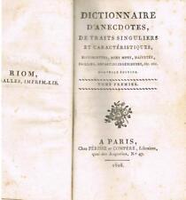 LA COMBE de PREZEL DICTIONNAIRE ANECDOTES 1808 RELIURE SIGNÉE GAUDREAU
