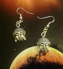 * Buddha face * vintage silver dangle studs earrings  kitsch /goth / steam punk