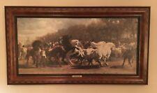 "THE HORSE FAIR by ROSA BONHEUR CANVAS in WALNUT INLAID WOOD FRAME 42"" X 23"""