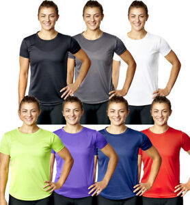 Womens T Shirt Top Fitness Sports Exercise Tee Running Active Wear Ladies Girls