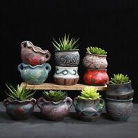 Terracotta Flower Pot Round Bonsai Succulent Planter Home Garden Desktop Decor