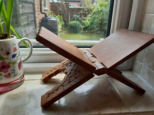 Folding Carved Wood Book Stand