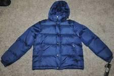 NWT $180-Mens Haggar Blue Hooded Puffer Down Feather Winter Snow Ski Jacket-sz L