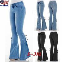 Women High Waist Stretch Denim Jeans Flare Wide Leg Trousers Bell Bottom Pants