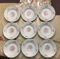 Baum Bros Rose Garden Soup Bowls Floral & Gold Rim, Made in Poland, Set of 9 Vtg