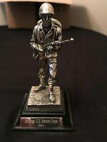 SILVER PLATED ROYAL HAMPSHIRE MILITARY FIGURE . 1st REGT U.S MARINE CORPS 1944