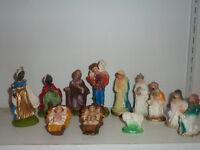 "Vintage Christmas Nativity Creche Set Figurines Mixed Lot 12 Italy Dep 2""-5""  M6"
