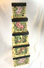 5 Stacking/nesting Boxes. Tropical Flowers & Birds
